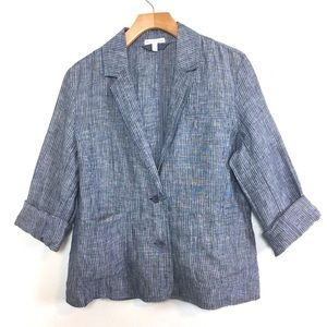Eileen Fisher Blue Linen Striped Blazer Jacket S